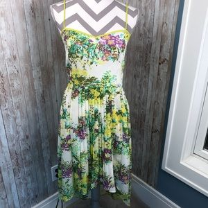 NWT Forever 21 L lime green hi-lo floral dress